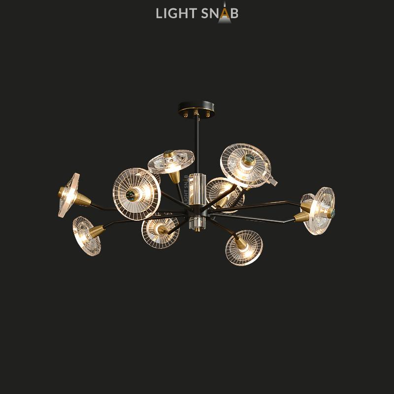 Дизайнерская люстра Janica 12 ламп. Цвет черный + латунь