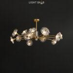 Дизайнерская люстра Janica 15 ламп. Цвет латунь