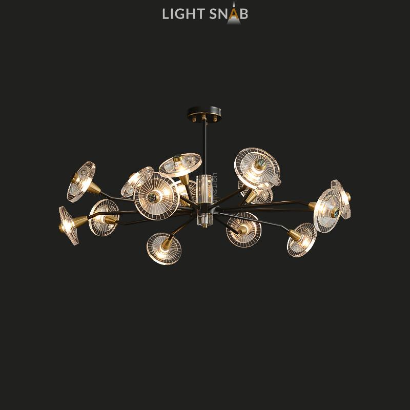 Дизайнерская люстра Janica 15 ламп. Цвет черный + латунь