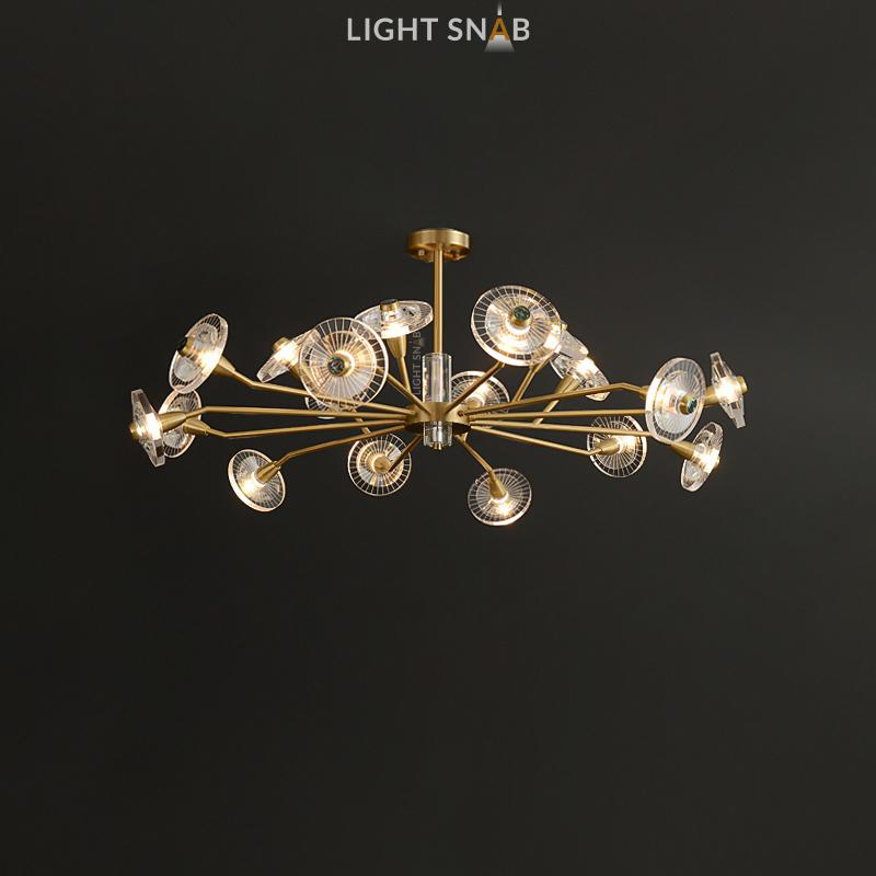 Дизайнерская люстра Janica 18 ламп. Цвет латунь