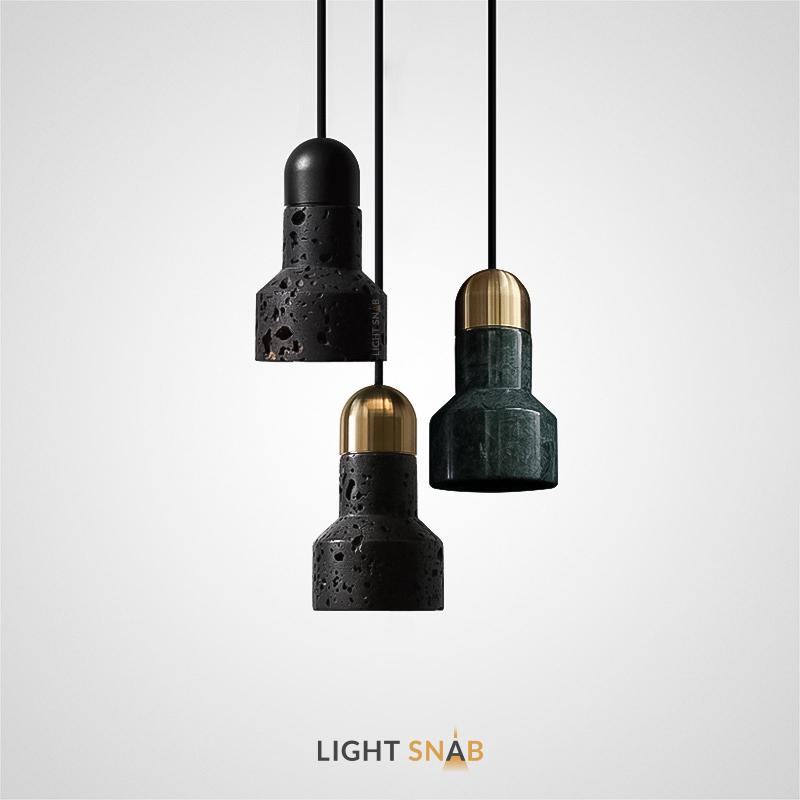 Подвесной светильник Jazz Stone с фигурным плафоном из лавового камня или зеленого мрамора
