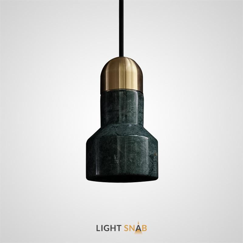Подвесной светильник Jazz Stone мрамор цвет зеленый + латунь