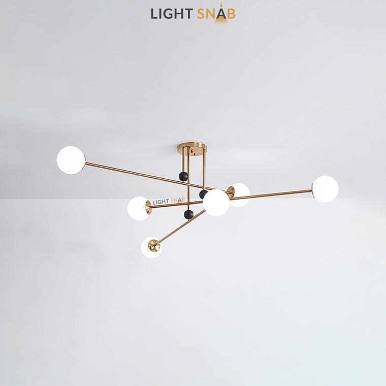 Дизайнерская люстра Jesi 6 ламп цвет золото