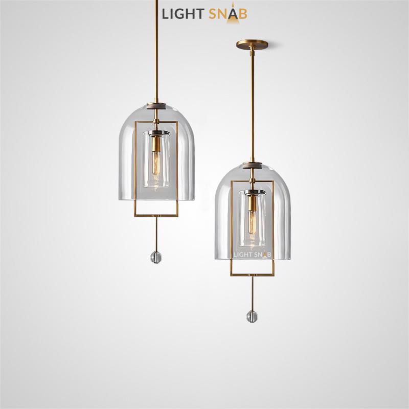 Дизайнерский светильник Jozefina на вертикальной стойке с двойным стеклянным плафоном и декоративной металлической рамкой со стеклянной подвеской