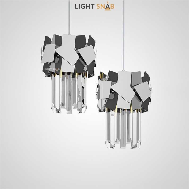 Подвесной светильник Kasaen One на струнном подвесе с кольцевым зеркальным каркасом и абажуром из комбинации хрустальных подвесов с отточенными гранями