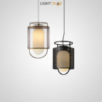 Подвесной светильник Kioto со стеклянным матовым плафоном эллиптической формы внутри сетчатого абажура