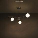Дизайнерская люстра League 4 лампы. Цвет черный