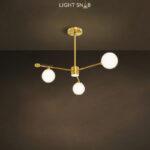 Дизайнерская люстра League 4 лампы. Цвет золото