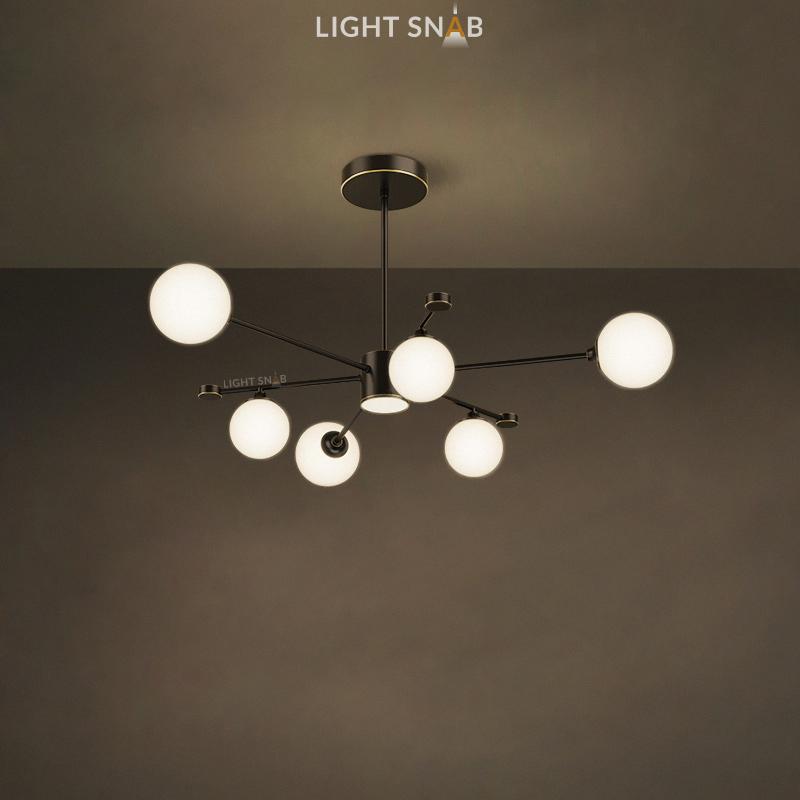 Дизайнерская люстра League 7 ламп. Цвет черный