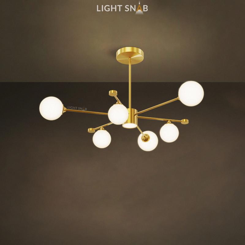 Дизайнерская люстра League 7 ламп. Цвет золото