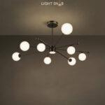 Дизайнерская люстра League 9 ламп. Цвет черный