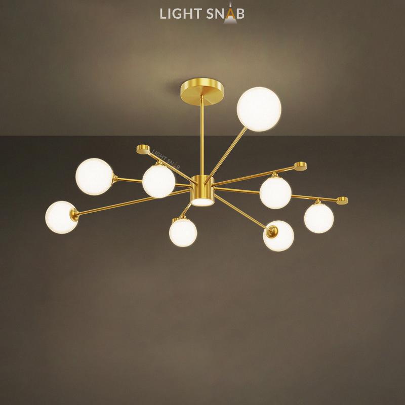Дизайнерская люстра League 9 ламп. Цвет золото