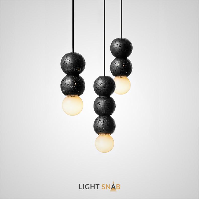 Подвесной светильник Lilla Black со стеклянным плафоном и декоративными шарообразными камнями