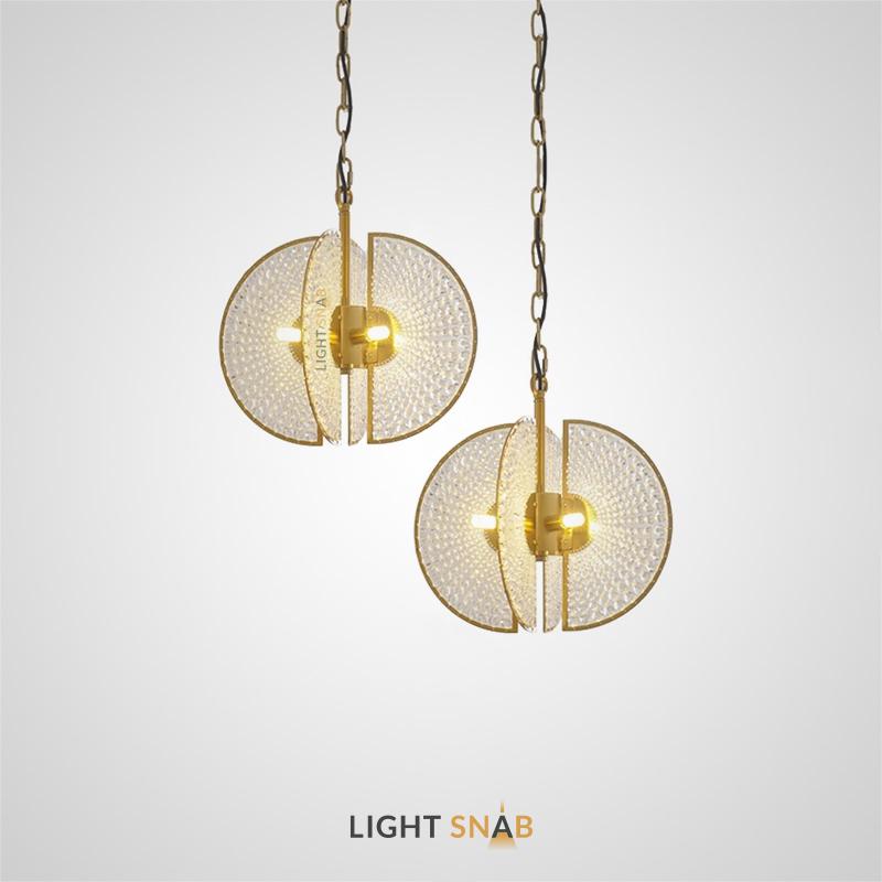Подвесной светильник Loftey с абажуром в виде четырех усеченных дисков из хрустальных бусин