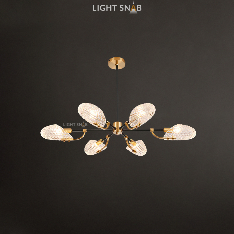 Люстра Loraine 6 ламп. Цвет латунь + черный