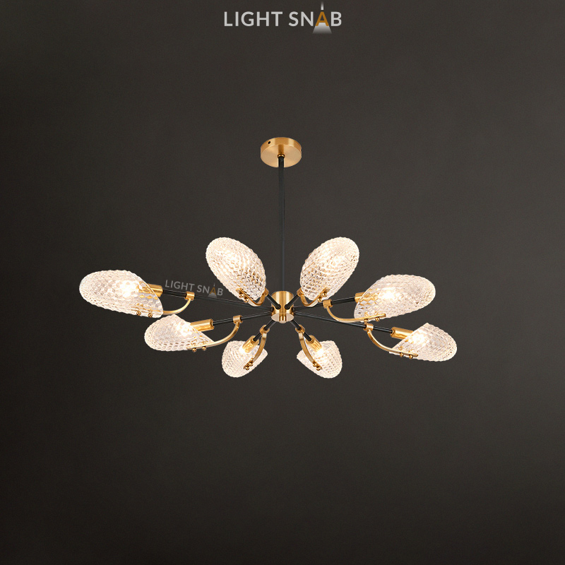 Люстра Loraine 8 ламп. Цвет латунь + черный
