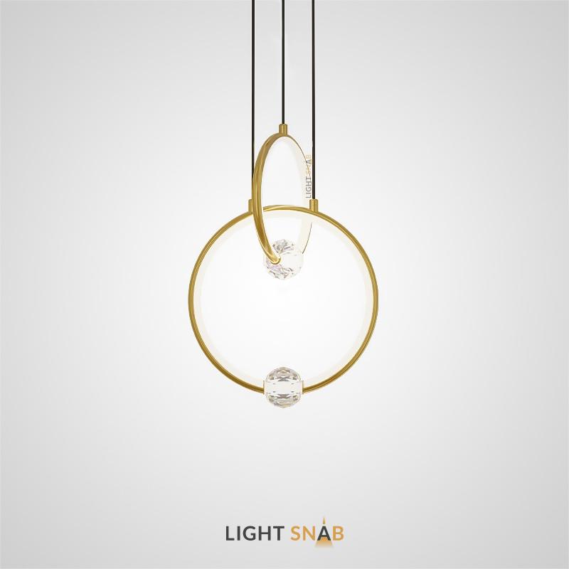 Подвесной светильник Luana с шарообразным хрустальным плафоном на металлическом кольце с внутренним LED-свечением