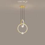 Подвесной светильник Luana 2 кольца цвет латунь свет теплый