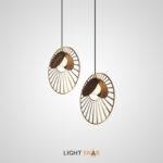 Подвесной светильник Magdalena с каркасом из металла и элементами из дерева