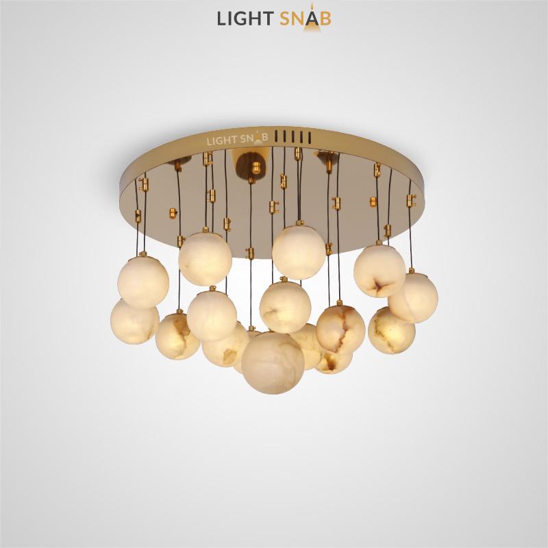 Дизайнерский светодиодный светильник Marble Ball с шарообразными плафонами из натурального испанского мрамора