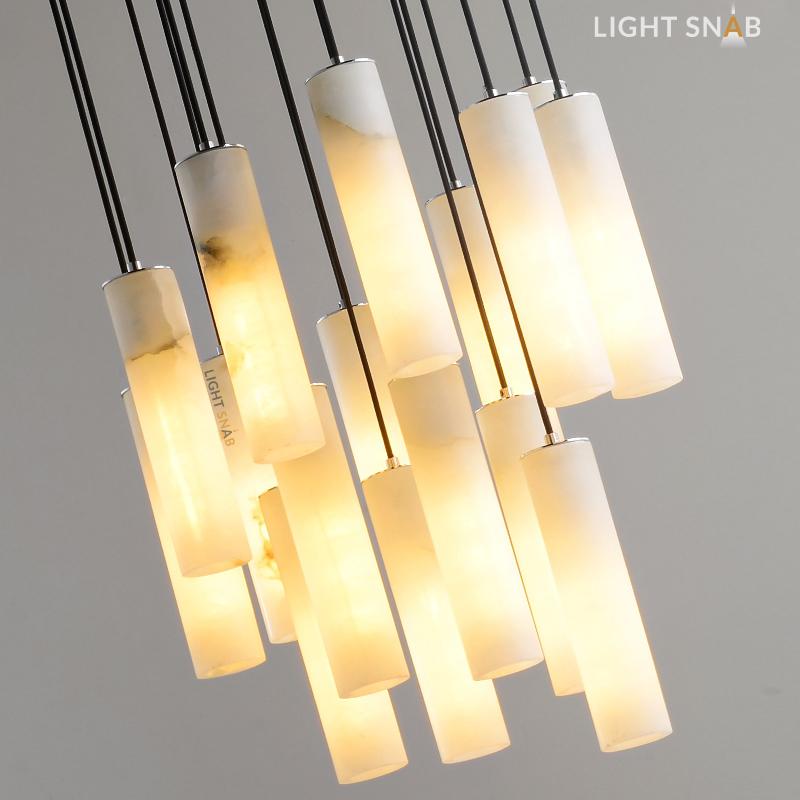 Дизайнерский подвесной светильник Marble Elit с плафоном из мрамора на подвесе