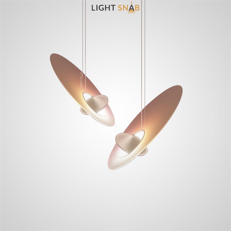 Дизайнерский подвесной светильник Marketa в виде композиции из двух пересекающихся эллиптических рассеивателей
