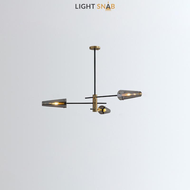 Люстра Maxima 3 лампы. Цвет латунь + черный