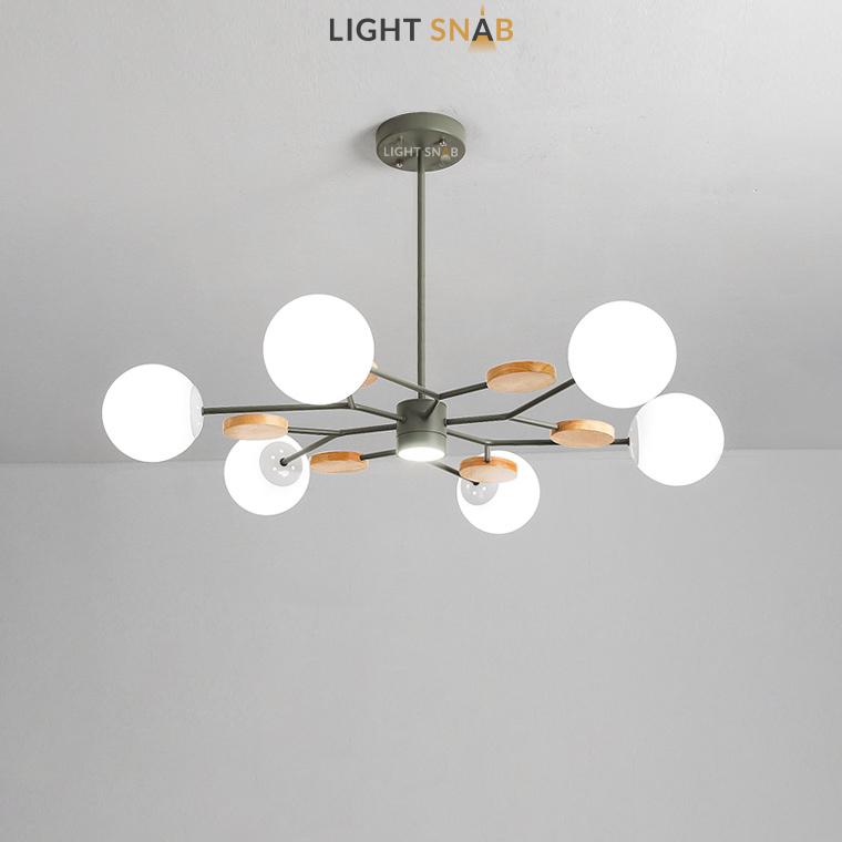Люстра Meade Orb 7 ламп. Цвет зеленый