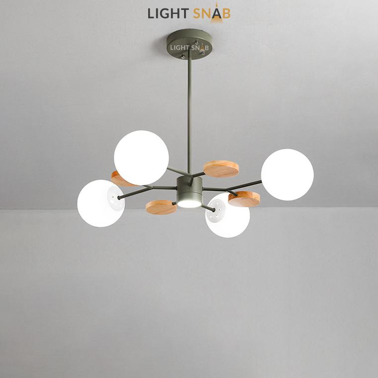 Люстра Meade Orb 5 ламп. Цвет зеленый