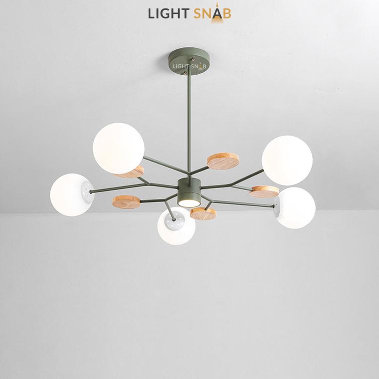 Люстра Meade Orb 6 ламп. Цвет зеленый