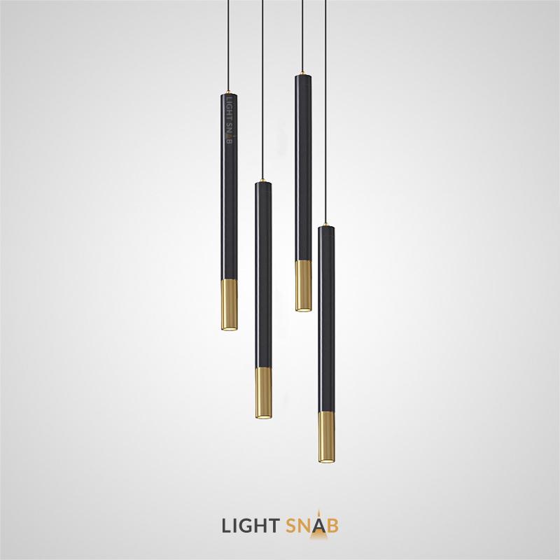 Подвесной светодиодный светильник Minor вытянутой цилиндрической формы с окантовкой латунного оттенка