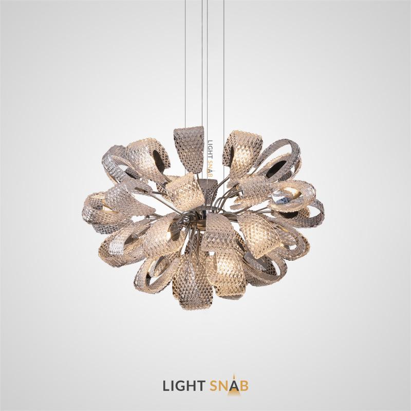 Дизайнерская люстра Mirabelle со стеклянными плафонами в форме лепестков с эффектом панциря