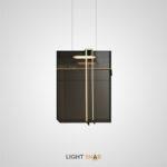 Подвесной светодиодный светильник Miramar прямоугольной формы из акриловых пластин дымчатого оттенка в металлическом каркасе