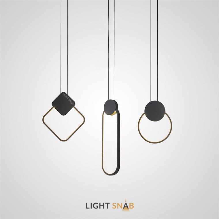 Светодиодный подвесной светильник Mitch BW геометрической формы с led-подсветкой по внутреннему контуру