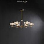 Светодиодная люстра Nicol 6 ламп. Цвет бронза + красный