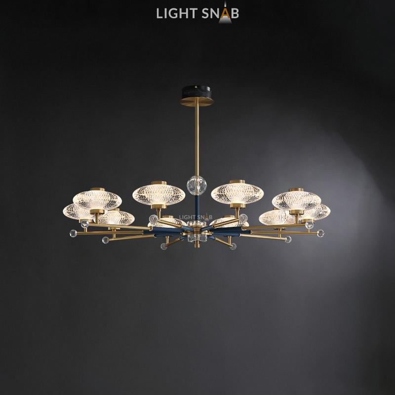 Светодиодная люстра Nicol 10 ламп. Цвет бронза + синий