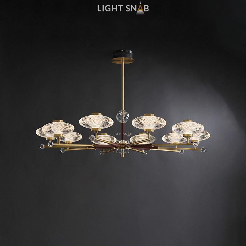 Светодиодная люстра Nicol 10 ламп. Цвет бронза + красный