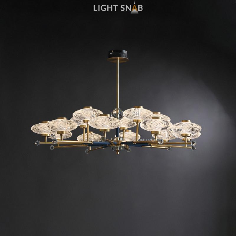 Светодиодная люстра Nicol 15 ламп. Цвет бронза + синий