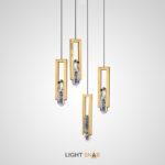 Подвесной светодиодный светильник Odelia с плафоном в виде хрустального камня в металлической рамке