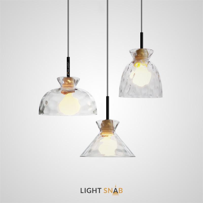Подвесной светильник Omg Glass с рельефным плафоном разной формы из выдувного стекла с деревянным цоколем