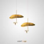 Дизайнерский подвесной светильник Palermo с плоским рельефным абажуром из металла и светодиодным источником света