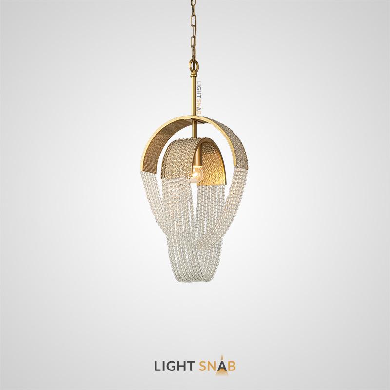 Дизайнерский подвесной светильник Pelagia с абажуром из подвесок в виде хрустальных бусин