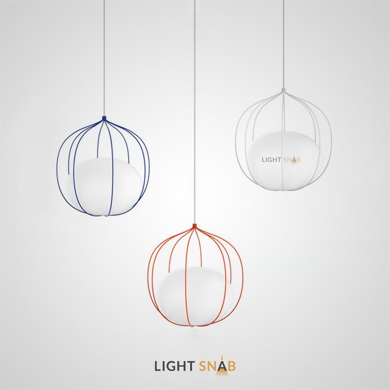 Подвесной светильник Phezalis из металлического проволочного абажура со стеклянным плафоном внутри