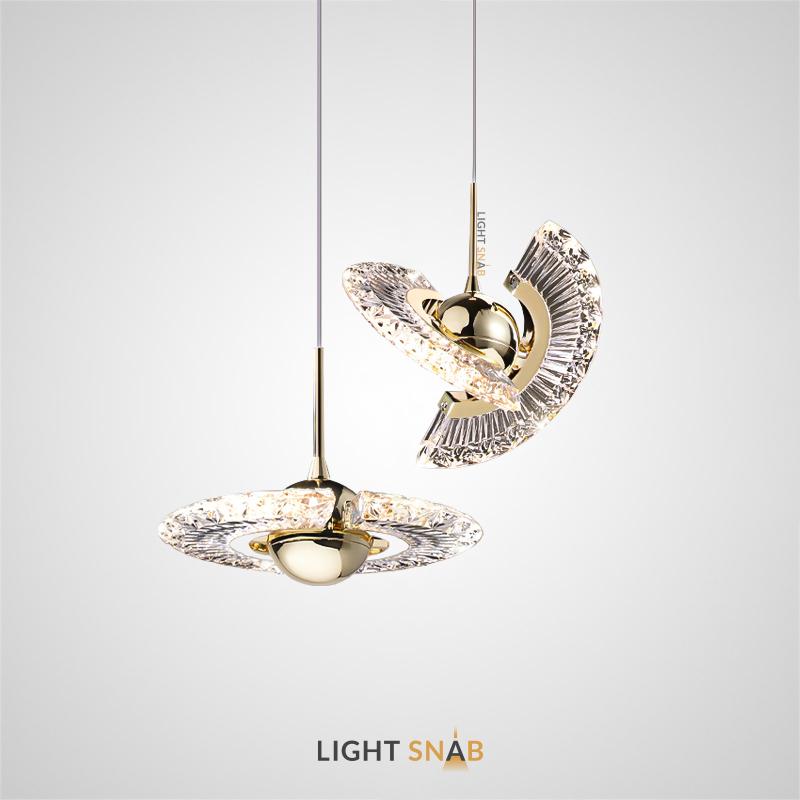 Дизайнерский подвесной светильник Phoenix с двумя ажурными поворотными рельефными лопастями из акрила и металлическим центром в форме шара