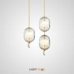 Дизайнерский подвесной светильник Platte с двойными стеклянными плафонами на вертикальной стойке с мраморным наконечником