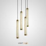 Подвесной светодиодный светильник Prisca вытянутой цилиндрической формы с плафоном из испанского мрамора