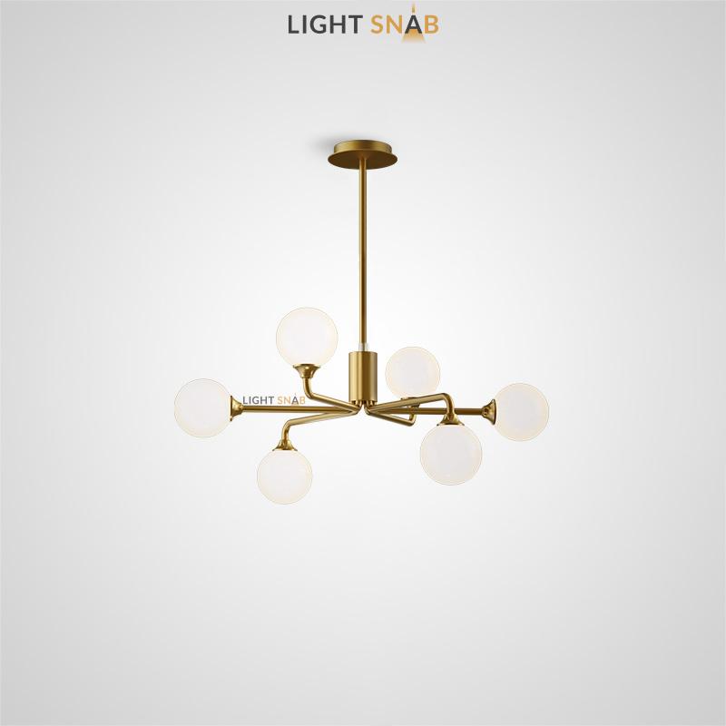 Дизайнерская люстра Proton 6 ламп. Цвет латунь