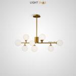 Дизайнерская люстра Proton 9 ламп. Цвет латунь