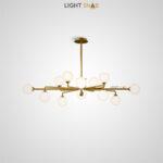 Дизайнерская люстра Proton 12 ламп. Цвет латунь