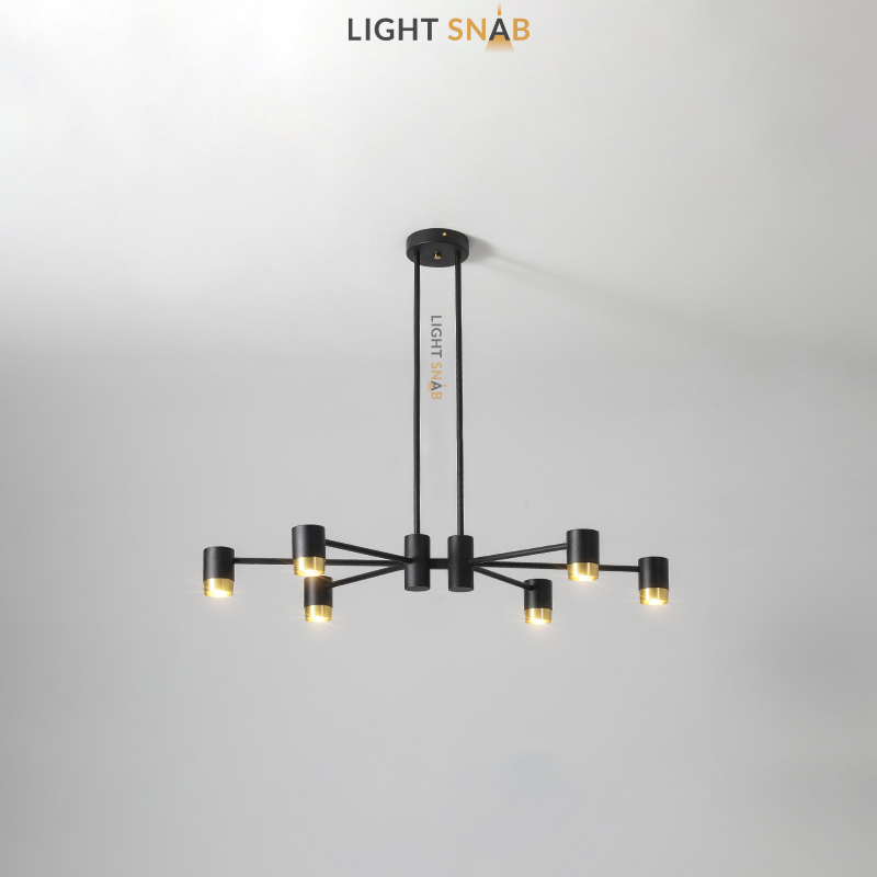 Люстра Ragna 6 ламп. Цвет черный + золото